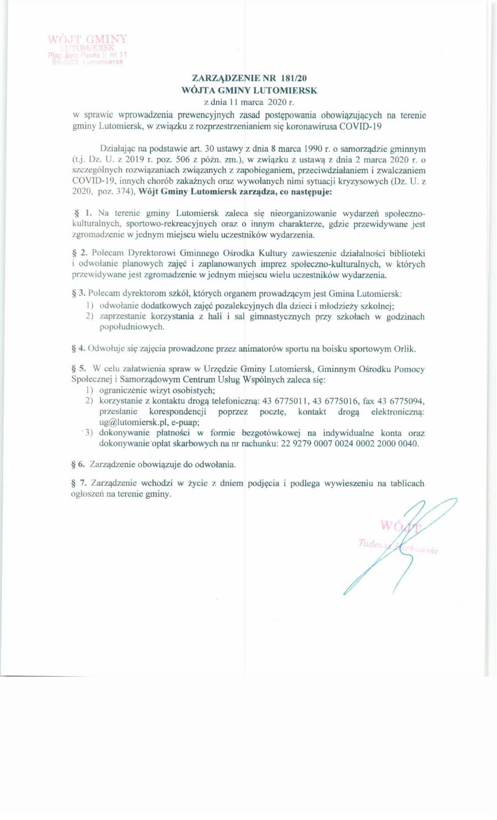 Zarządzenie Wójta Gminy Lutomiersk w sprawie wprowadzenia prewencyjnych zasad postępowania obowiązujących na terenie Gminy Lutomiersk, w związku z rozprzestrzenianiem się koronowirusa COVID-19